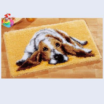 Latch hook rug kits Cute Dog cross stitch thread embroidery kits Carpet embroidery foamiran for needlework Set for embroidery