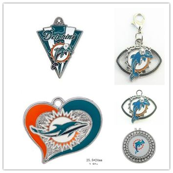 Mix 5 Styles Enamel Football Team Miami Dolphins Dangle Charms Pendant For DIY Bracelet&Necklace Earrings Jewelry 20pcs/lot