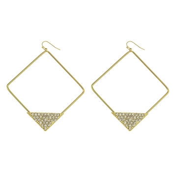 Goldtone with Stone Pyramid 3 Inch Square Hoop Earrings