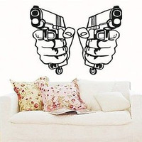 Wall Mural Vinyl Decal Sticker Hands with Guns Pistol S5568