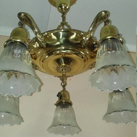 Vintage Brass Pan Chandelier 5 Arm Original Shades Rewired Very Nice Condition 1920s