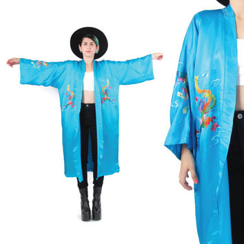 Vintage Silk Kimono Asian Embroidered Kimono Turquoise Blue Silk Robe Chinese Lucky Dragon Bohemian Festival Jacket Dressing Gown (L/XL)