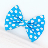 Blue Hair Bow with Blue Polka Dots with Hair Clip Rockabilly Pin up Teen Woman