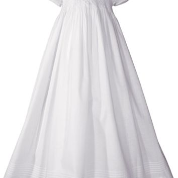 "Smocked Hand Embroidered 32"" Cotton Broadcloth Christening Gown Baby Girls 0-24M"