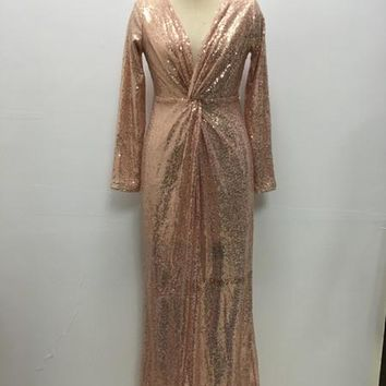 Deep V Collar Gold Party Dresses With Long Sleeves Shiny Sequins Full Length Night Club Dress | Best Deal Online