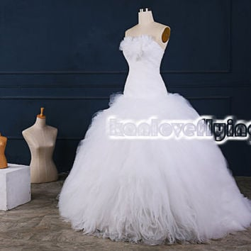 Elegant white floor length puffy tulle wedding dresses bridal gowns,puffy white a-line ball gownsd top,white bridal gowns,elegant gowns