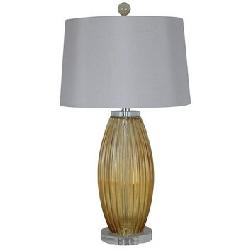 Pre-owned Amber Glass Table Lamp with White Shade - A Pair