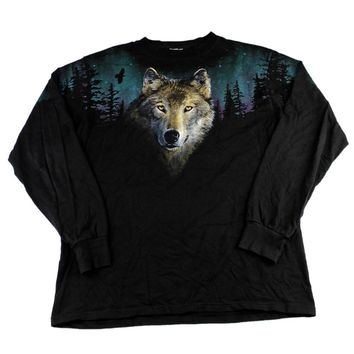 Vintage 90s Wolf Forest Scene Shirt Mens Size Large