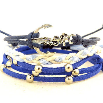 Silver Anchor Pack Bracelet
