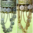 Egyptian Pyramid Gold And Silver Arm Cuff Bracelets