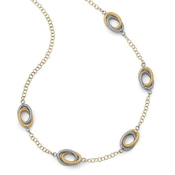 14k Two-Tone Gold Double Oval Link Station Necklace, 20 Inch