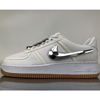 Nike Air Force Low help three-color Velcro personality tide brand trendy sneakers F White+silver hook