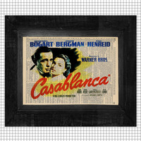 Casablanca Vintage Movie Poster Print in Color on an Antique Upcycled Bookpage
