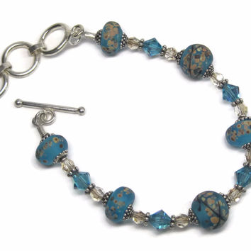 Handmade Blue Lampwork Art Glass Bead Bracelet 7-8 Inches
