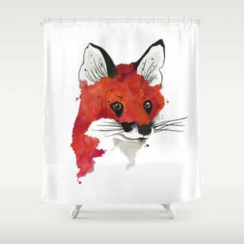 Red Fox Shower Curtain by Luis Patino