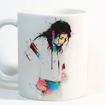 Michael Jackson coffee mug, Michael Jackson mug Watercolor Mug Gift mug Tea Cup, Gift for her, Gift for him, Printed mug, Ceramic mug
