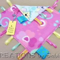 Cats, Dogs, Hearts,Baby Crinkle Tag Blanket Crinkle Taggie by CREATIONSbySabine