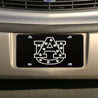 Auburn Tigers Polka Dot License Plate - Black/Silver - http://www.shareasale.com/m-pr.cfm?merchantID=7124&userID=1042934&productID=540322726 / Auburn Tigers