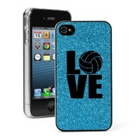 Light Blue Apple iPhone 4 4S 4G Glitter Bling Hard Case Cover G553 Love Volleyball