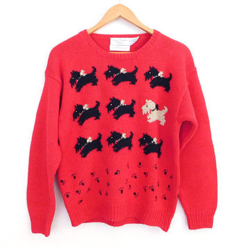 Sz M 90s Red Scottie Dog Sweater - Women's Vintage Oversize Jumper with Black and Gold Scottish Terrier Dog Motif - Ugly Christmas Sweater