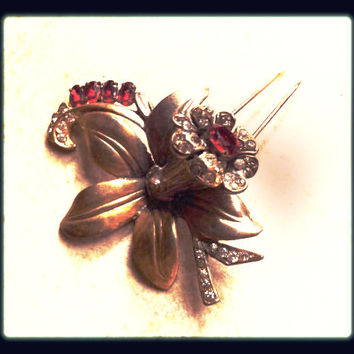 Ruby Red Fur Pin Floral Large Brooch Ice Diamond Rhinestones Stunning Vintage Jewelry