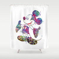 Mickey Mouse Watercolor Shower Curtain by Bitter Moon