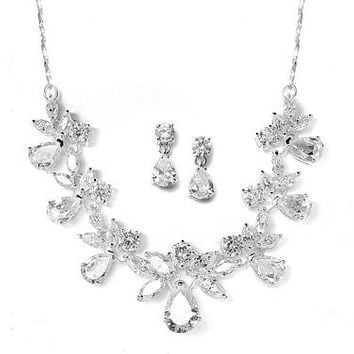 Amazing Ornate Handmade European CZ Necklace & Earring Set