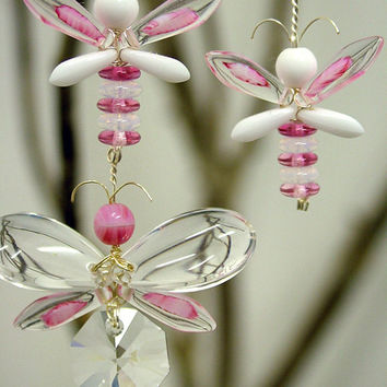 Pink Butterfly Mobile Crystal Suncatcher Butterfly Ornament Window Charm Glass Mobile Butterfly Garland Baby Girl Mobile Fairy Mobile