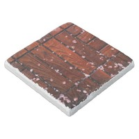 Cool Brown Wooden Ply texture With Wintry Snow Ice Stone Coaster