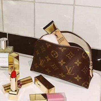 LV Fashion Women Girl Make up Bag Four Piece Suit LV Print Coffee