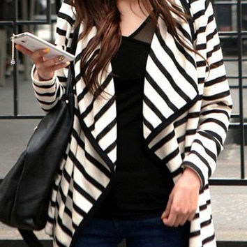 Turn-Down Neck Stripe Design Long Sleeves Cardigan Coat