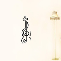 Violin Music Treble Clef Housewares Wall Vinyl Decal Art Modern Design Murals Interior Decor Sticker Removable Room Window en51