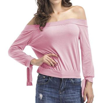 Long Sleeve Off Shoulder Top Boat-Neck Shirt