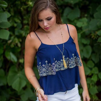 Embroidered and Layered Top in Navy
