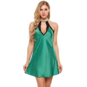 Sexy Lace Hollow Out Nightgown Women Halter Keyhole Sleeveless Lace-Trim Satin Chemise Slip Nightgown Sleepwear