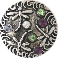 Snap Charm Dragonflies with Clear Purple Green Stones 20mm