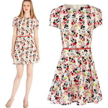 Floral Print Short-Sleeve Dress With Belt
