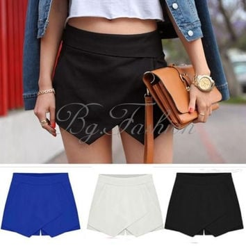 Women's Asymmetric Tiered Culottes Shorts With Invisible Zipper Pants Trousers(US Size,S-XXL) = 1947005956