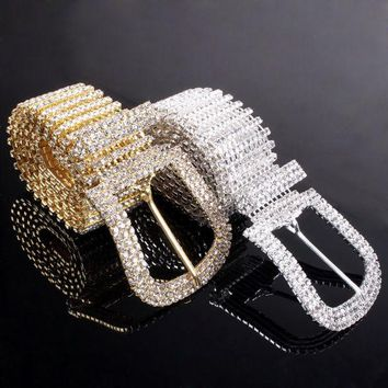 LMF9GW Fashion Women Ladies Waist Hip Belt Crystal Rhinestone Waistband Metal Buckle Party waist chain