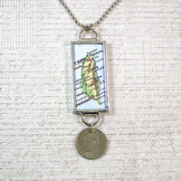 Taiwan Map and Coin Pendant Necklace