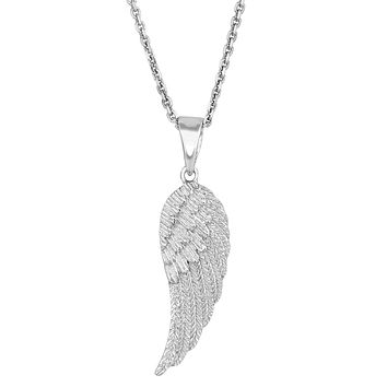 Sterling Silver Angel Wing Pendant Necklace, 18""