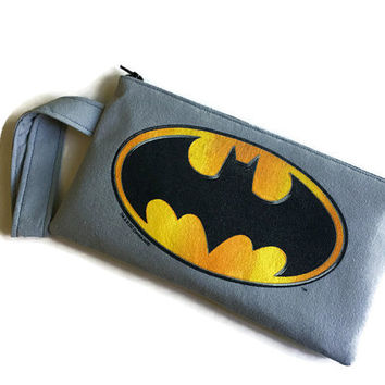 Batman Bag Upcycled Tshirt Bag Superhero Clutch Handbag