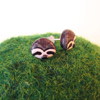Sloth earrings animal stud earringsfree by FlowerLandShop on Etsy