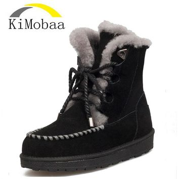 Kimobaa Women Snow Boots Fur Genuine Leather Ankle Boots Wool Cow Suede Warm Women Shoes Russia Lace up Bootis Big Size TX185