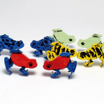 Poison Dart Frog Earrings Laser Cut wood Hand painted 1 Pair Your choice