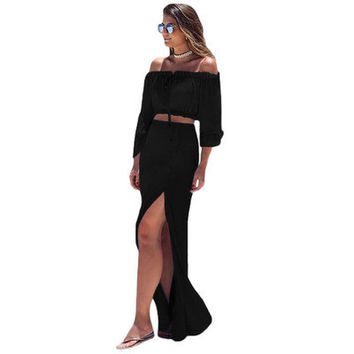2017 Trending Fashion High Waisted Off Shoulder Package Hip Quarter Sleeve Boat Neckline Split One Piece Dress _ 12339