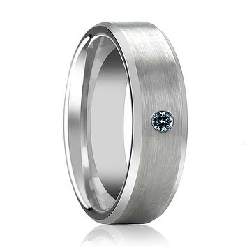 ISAAC Silver Brushed Men's Tungsten Wedding Band with Blue Diamond & Beveled Edges - 6MM - 8MM