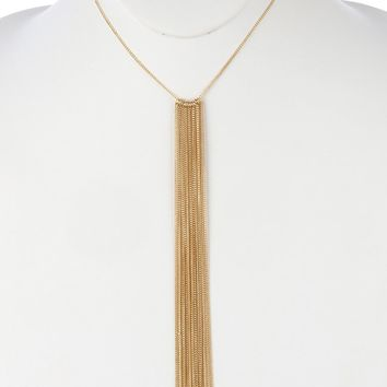 Gold Long Chain Fringe Bib Necklace