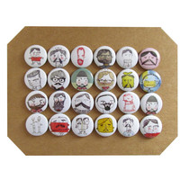 "Macho Doodle 1"" Pins or Magnets - Lumberjack, Sailors, Bearded Men Doodle Images Set of 24 - For the Home Office Memo Board - Dorm Room item"