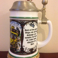 Original BMF Bierseidel Lidded Beer Stein Made in W.Germany